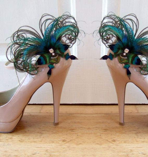 "Bridal Peacock Feathers Butterfly ""Sophia"" Crystal Shoe Clips SCP2710"